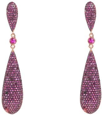 Latelita Coco Long Drop Earrings Ruby Red Cz