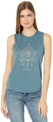 Spiritual Gangster Moon Muscle Tank Top (Soft Jade) Women's Sleeveless