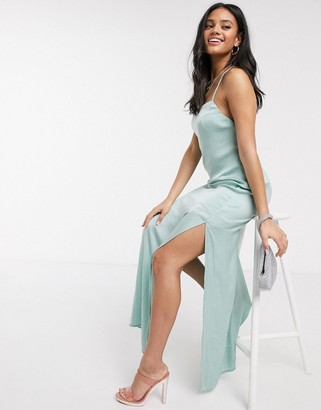 Skylar Rose maxi slip dress with strappy back in satin
