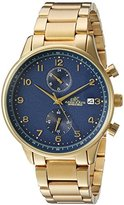 Adee Kaye Men's Quartz Stainless Steel Fitness Watch, Color:Gold-Toned (Model: AK7105-MGBU)