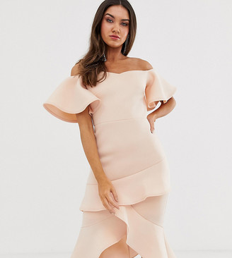 True Violet off the shoulder frill midi bodycon dress