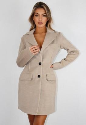 Missguided Stone Dart Detail Formal Coat