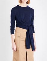 Mo&Co. Tie-waist wool jumper