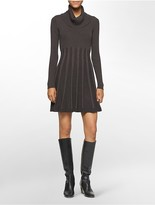 Calvin Klein Pleated Cowl Neck Sweater Dress