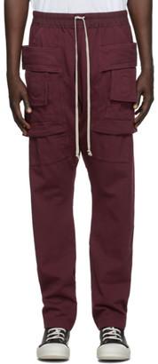 Rick Owens Burgundy Creatch Cargo Pants