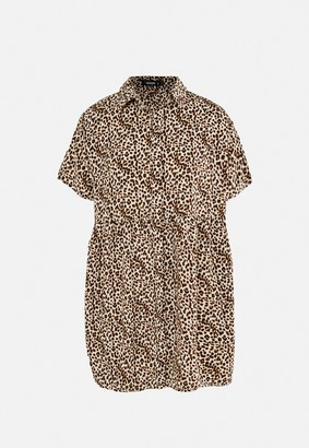 Missguided Stone Leopard Print Shirt Smock Dress