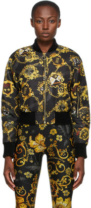 Versace Jeans Couture Black Shields and Chains Bomber Jacket