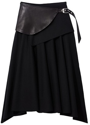 Proenza Schouler Leather Belt Pleated Wool Skirt