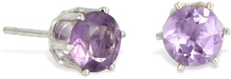 Savvy Cie Sterling Silver Prong Set Amethyst Round Stud Earrings