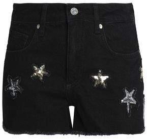 Zoe Karssen Sequin-Embellished Denim Shorts