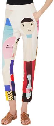 Akris Chris Doll-Print High-Waist Cuffed Crepe Pants