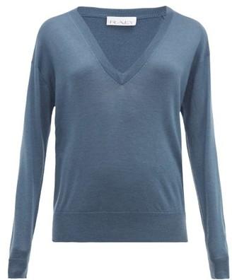 Raey Sheer V-neck Cashmere Sweater - Blue