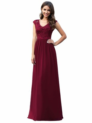 Ever Pretty Ever-Pretty Women's Classic Floral Lace V Neck Elegant A Line Chiffon Wedding Party Dresses Burgundy 16UK