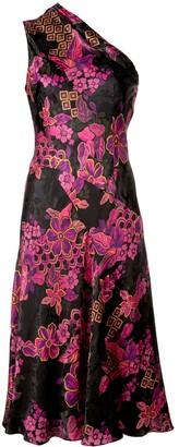 Josie Natori one shoulder jacquard dress