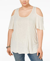 Eyeshadow Trendy Plus Size Cold-Shoulder Knit Top