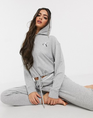 Calvin Klein One basic lounge hoodie in gray