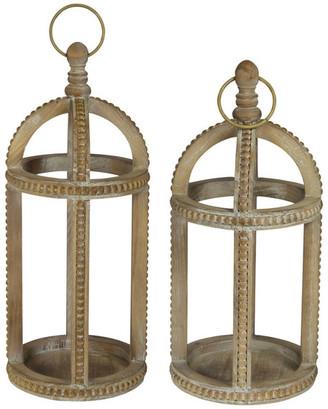 American Mercantile Wood Lanterns Set of 2