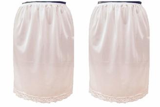 Damart Pack of 2 Cream Deep Lace Trim Half Slip Underskirt (Size 14/16)