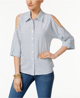 Style&Co. Style & Co Cotton Striped Cold-Shoulder Shirt, Created for Macy's
