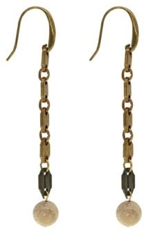 T.r.u. by 1928 Vintage-Like Brass Tone Linear Accented with Semi-Precious Riverstone Beads Earring