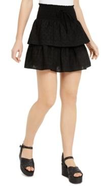 BeBop Juniors' Tiered Eyelet Mini Skirt