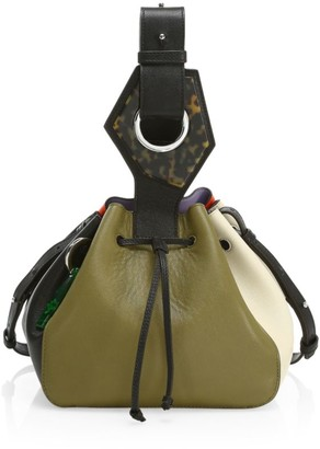 Ganni Small Colorblock Leather Bucket Bag
