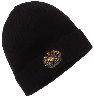 Burberry Embroidered Crest Rib Knit Wool & Cashmere-Blend Hat