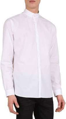 The Kooples Slim Fit New Popeline Mandarin Collar Long Sleeve Sport Shirt