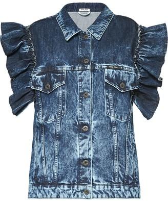 Miu Miu Ruffled Shoulder Denim Jacket