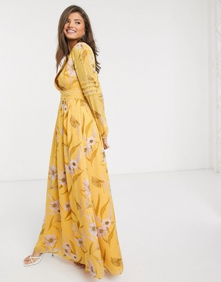 Ted Baker kiala floral maxi dress in yellow