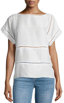 MiH Jeans Insert Top W/Pointelle Trim, White