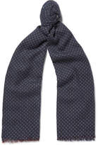 Loro Piana Patterned Cashmere Scarf - Navy