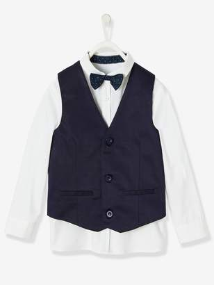 Vertbaudet Special Occasion 3-Item Set: Shirt + Waistcoat + Bow-tie, for Boys