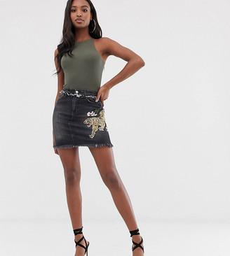 Chorus Tall Tiger Embroidery Raw Hem Denim Mini Skirt-Black