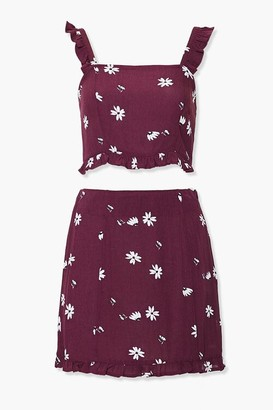 Forever 21 Floral Crop Top Mini Skirt Set