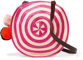 Sophie Anderson - Lella Pompom-embellished Leather-trimmed Woven Raffia Shoulder Bag - Pink