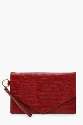 boohoo Oversized Croc Clutch Bag With Edge Detail