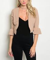 Khaki Bell-Sleeve Open Blazer
