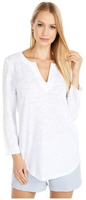Lilla P 3/4 Sleeve Split-Neck Tunic Top (White) Women's Clothing