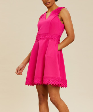 Ted Baker Women's Casual Dresses BRT-PINK - Bright Pink Lace-Contrast Tiered Elayna Fit & Flare Dress - Women