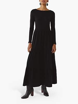 Warehouse Scoop Back Tiered Maxi Dress, Black