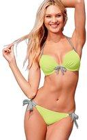 Ya Lida Women's bikini swimwear swimsuit V neckline Red and Black