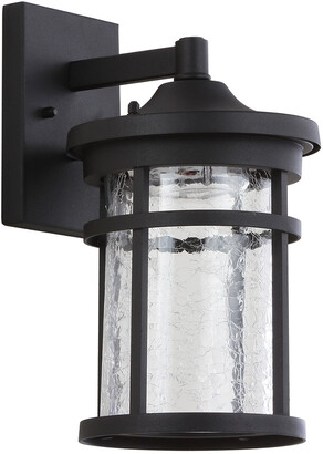 Jonathan Y Designs Campo 11.5In Outdoor Wall Lantern Crackled Glass Metal Integrated Led Sconce