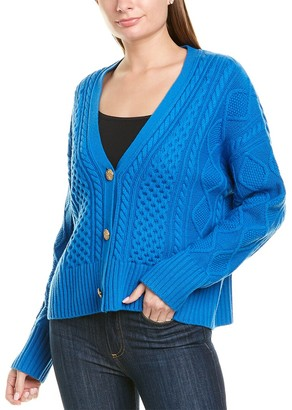 St. John Galway Cable-Knit Wool & Cashmere-Blend Cardigan