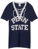 PINK Penn State University Lace-up V-neck Tee