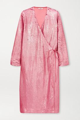 Ganni Sequined Satin Wrap Dress - Pink