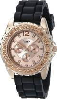 XOXO Women's XO8045 Rhinestone Accent Black Silicone Strap Watch
