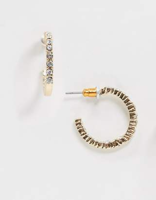 clear Asos Design ASOS DESIGN hoop earrings with crystal in gold tone
