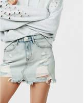 Express petite mid rise distressed original denim mini skirt