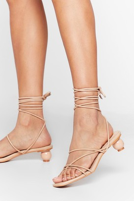 Nasty Gal Womens You've Got Balls Babe Faux Leather Strappy Heels - Beige - 3